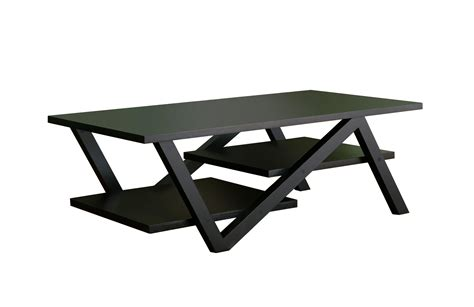 black rectangular coffee table wide with two shelves low