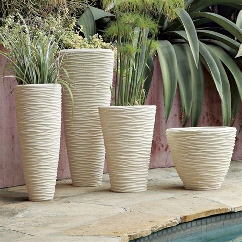modern pots and planters textured stone planters modern indoor pots and