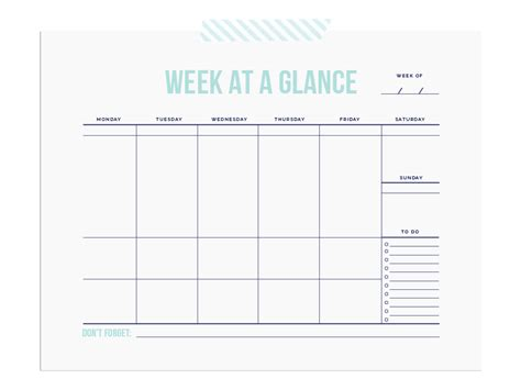 week at a glance template printable week at a glance calendar template calendar