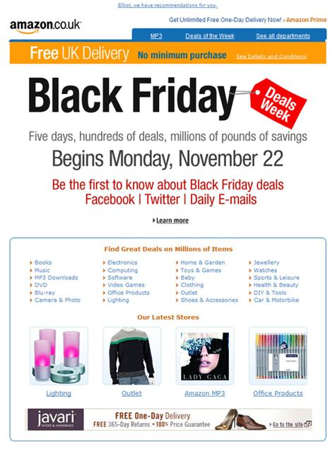amazon black friday amazon black friday comes to the uk email design review