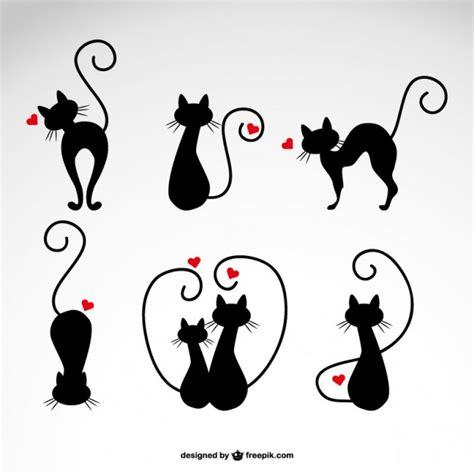 imagenes halloween vectorizadas ilustraciones de gatos negros con corazones descargar