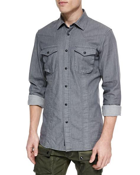 Sleeve Washed Denim Shirt belstaff bowman sleeve washed denim shirt neiman