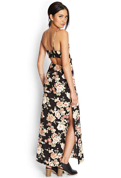 Maxi Dress Forever 8 Kode 7080 lyst forever 21 cutout floral maxi dress