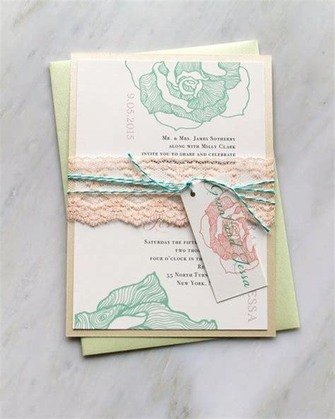 bakers twine wedding invitations ruffled mint lace wedding invitation lilac mint green baker twine purchase