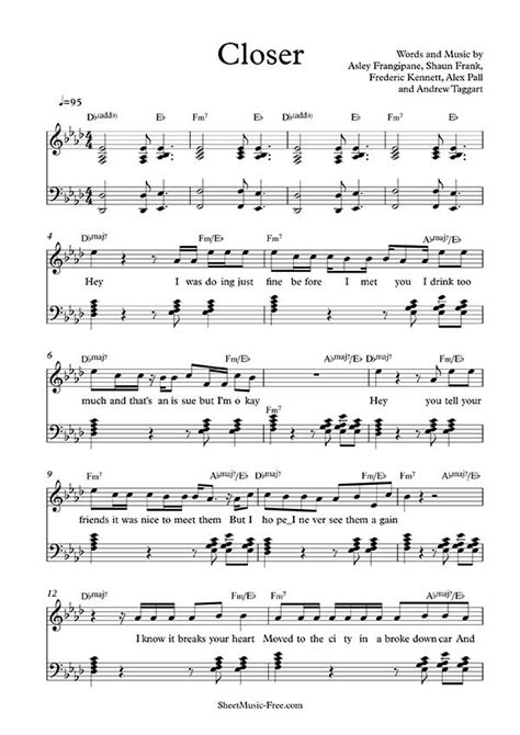 printable piano sheet music no download free closer sheet music the chainsmokers sheet music free