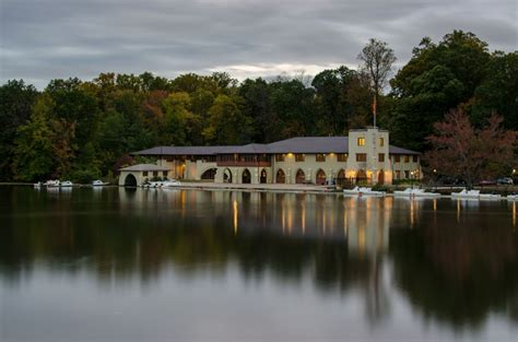Magic Hour Ley In The shea rowing center and class of 1887 boathouse at magic hour island in the net