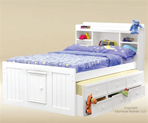 White Bed With Trundle by Trading White Finish Size Captains Trundle Bed