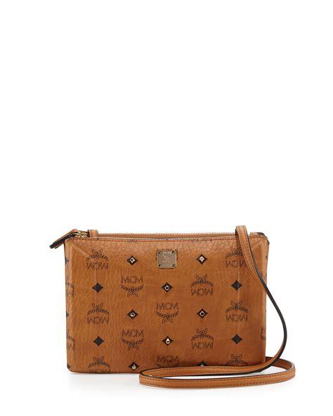 mcm gold visetos crossbody bag in brown lyst