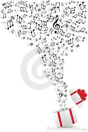 gift song notes and gift box stock image image 17831401