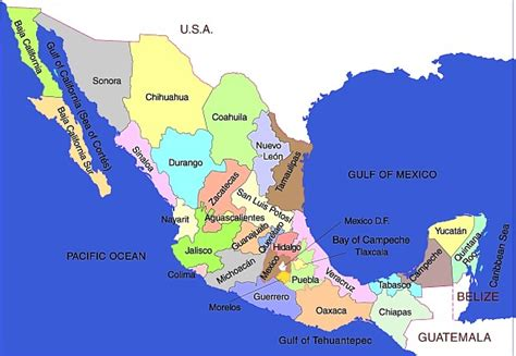 mexico states map map of mexico states regional map of mexico regional political geography topographic