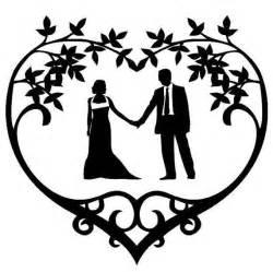 Wedding couple silhouette vinyl decal floral heart frame frame wedding
