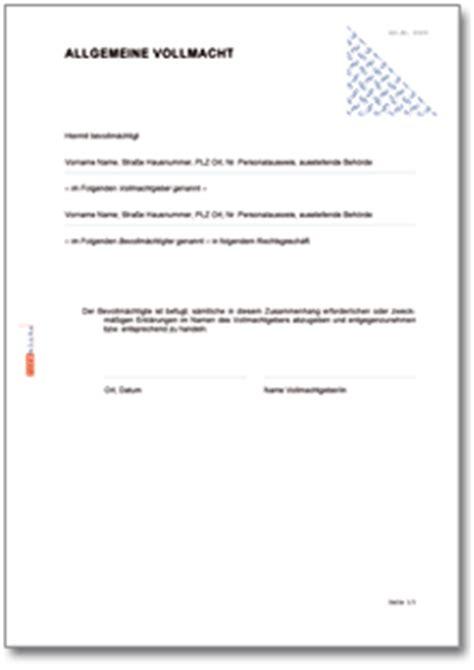 Vollmacht Schreiben Muster Post Allgemeine Vollmacht De Vorlage