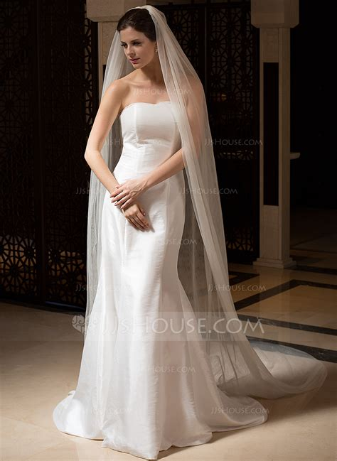 Wedding Dresses Veils by Two Tier Cut Edge Cathedral Bridal Veils 006036027