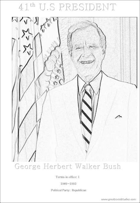 George W Bush Coloring Page by 41st Us President George Herbert Walker Bush Teenagers