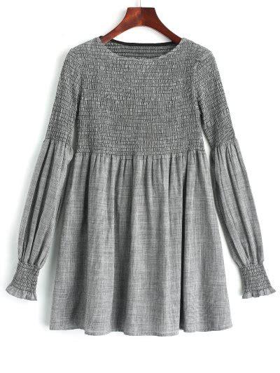 Wap Tunic Dress sleeve smocked plaid tunic dress checked sleeve