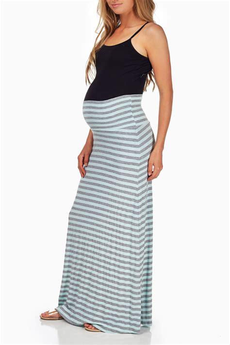 Maternity Maxi Skirt aqua grey striped maternity maxi skirt