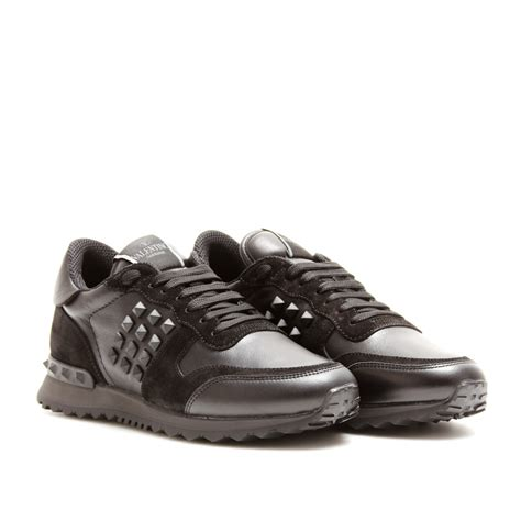 black sneakers valentino rockstud noir sneakers in black noir lyst
