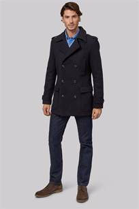 Pea Cost Moss 1851 Tailored Fit Navy Breasted Pea Coat