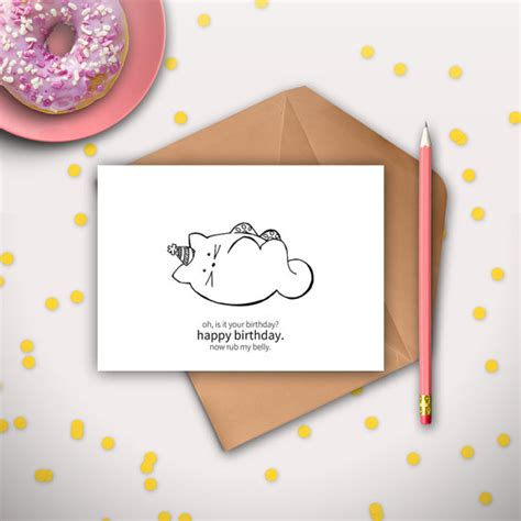 printable birthday cards etsy funny cat birthday card printable instant download digital