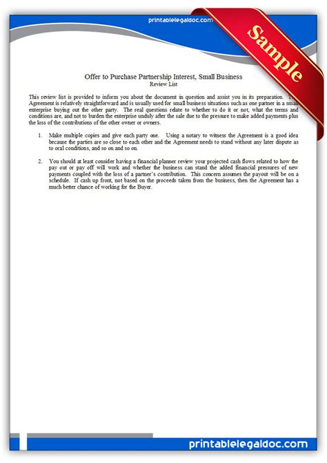 Free Printable Offer To Purchase Partnership Interest Form Generic Partnership Interest Purchase Agreement Template