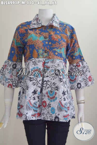 Baju Wanita Keren baju batik keren wanita muda busana batik modern dessain trendy dengan kerah lancip berpadu dua