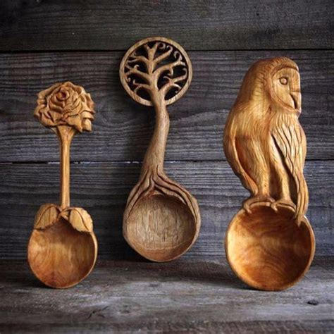 Hand carved wooden spoons by Giles Newman   Smile more please