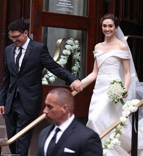 emmy rossum is married to emmy rossum stuns in carolina herrera gown in new york