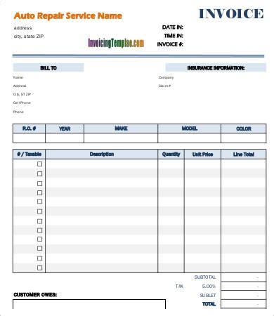free printable automotive invoice free printable invoice template 23 free word excel