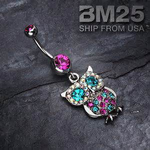 Belly Accessories Selendang Sparkling New sparkling owl dangle belly button navel from bm25