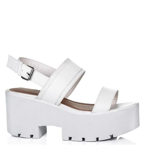 butter heeled cleated sole platform sandal shoes white