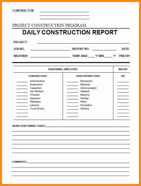 daily report templates 9 construction daily report template excel driver resume