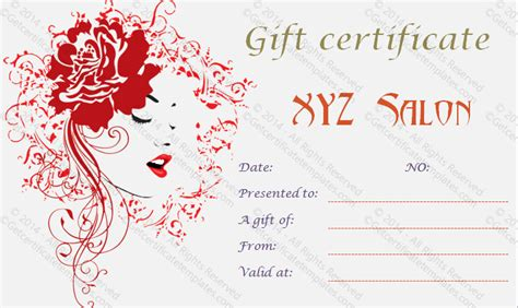 salon gift card template artistic salon gift certificate template