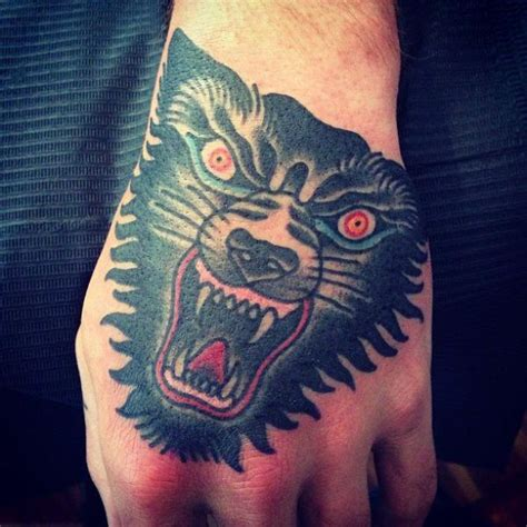 tattoo old school hand old school hand wolf tattoo by seven devils