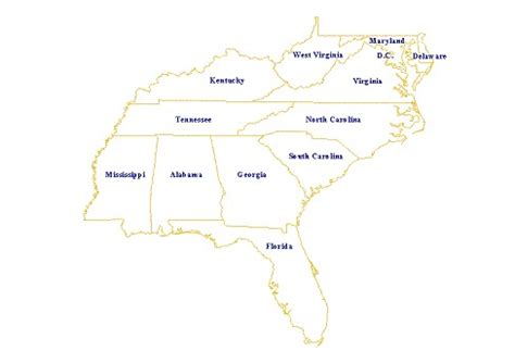 printable map of the southeast united states southeastern united states southeast u s