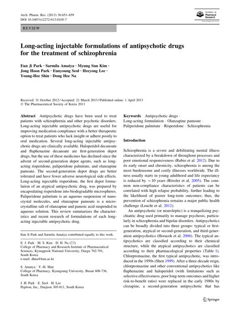 Acting Injectable Antipsychotics In Early Psychosis A Literature Review by Acting Injectable Formulations Of Antipsychotic Drugs For The Treatment Of Schizophrenia
