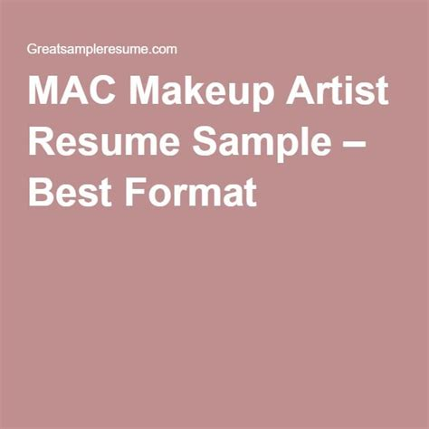 mac makeup artist resume sample  format projects