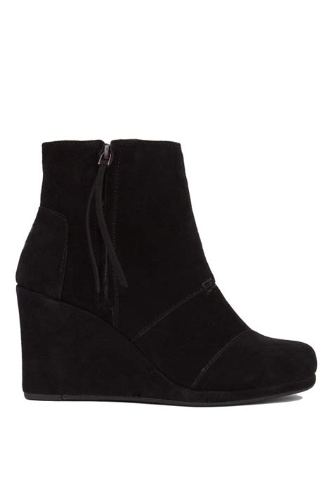 toms suede wedge boots in black black suede save 30