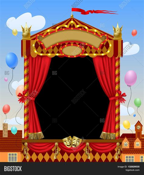 layout view show marionette puppet show booth theater masks image photo bigstock