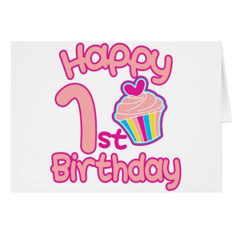 Happy 1st Birthday Card Happy 1st Birthday Greeting Card Zazzle