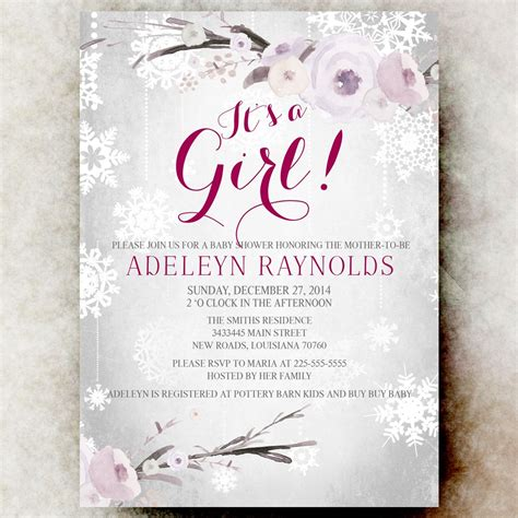 winter baby shower invitation girl baby shower