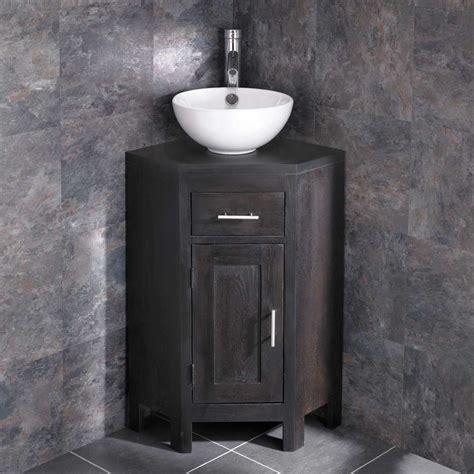 Alta WENGE Oak Corner Vanity Cabinet with 300mm Stabia