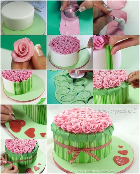 diy awesome bouquet of roses cake decor