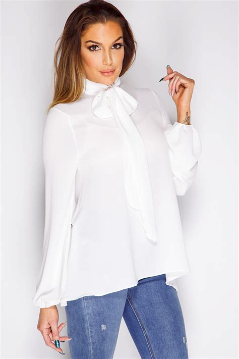 White Tops And Blouses Uk by White Bow Blouse At Misspap Co Uk