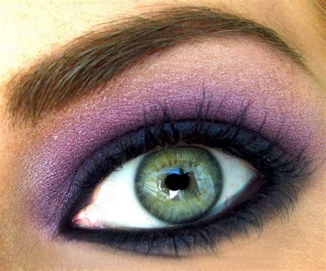 purple eye color blues and purples makeup look on green eyes