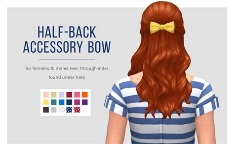 my sims 4 blog hair bow by s club my sims 4 blog half back accessory hair bow by