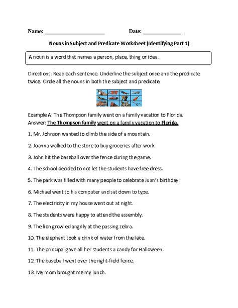 Predicate Nominative Worksheet by Worksheets Predicate Nominative Worksheet Opossumsoft