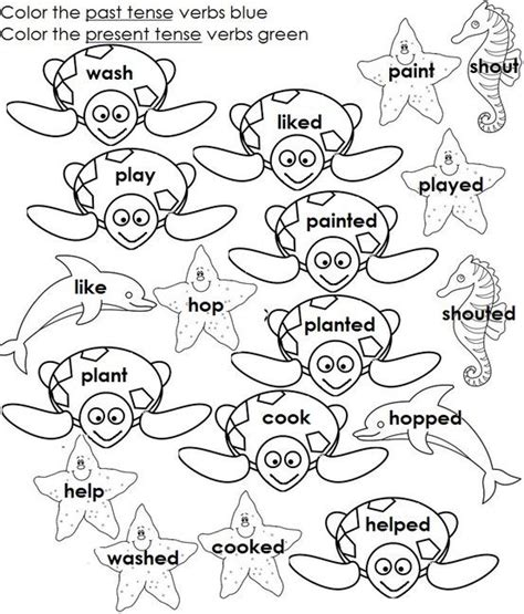 coloring pages for verbs regular past tense verbs ed ending the coloring part will