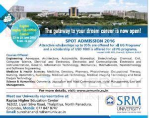 Srm Distance Education Mba by Srm Spot Admission 2016 Education Synergyy