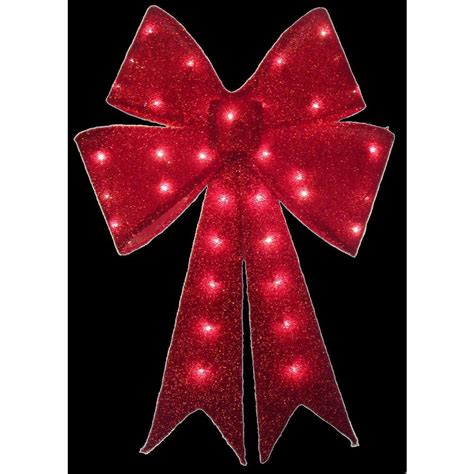 large lighted bow home accents 24 in pre lit tinsel bow ty419