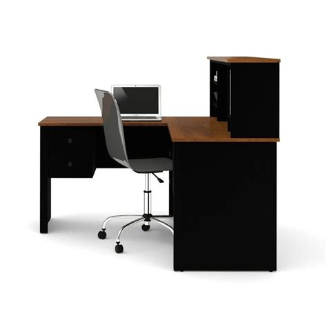 black l desk bestar somerville l shaped desk with hutch in black and tuscany brown 45850 18